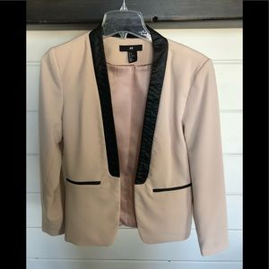 H&M blush and faux black leather trimmed blazer